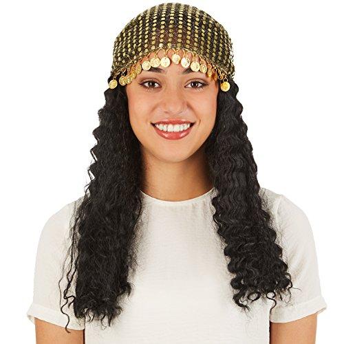 TecTake dressforfun Frauenperücke Wahrsagerin | Schönes, mittellanges Haar | Inkl. Kopftuch aus Paillettenstoff und mit Metallmünzendeko