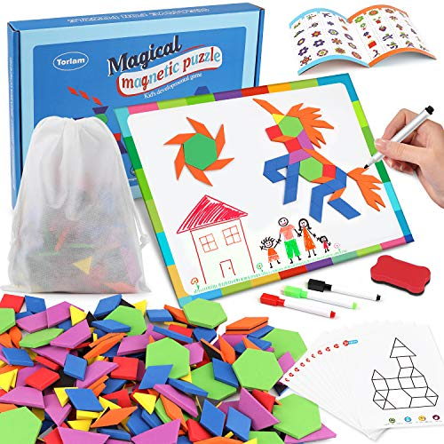 190 Pcs Magnetic Pattern Blocks Set Geometric Manipulative Shape Puzzle Magnetic Shape Blocks Puzzle for Kids Ages 4-8 Tangrams for Kids with Magnetic Board