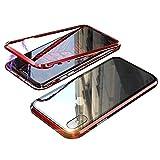 iPhoneXR ケース アイフォンXR カバー アルミ バンパー 背面透明強化ガラス バックプレートマグネット式 磁力で接続 QIワイヤレス充電対応 軽量 薄型 スマホケース 擦り傷防止 耐衝撃保護(iphone XR, レッド)
