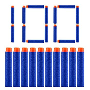 QUN FENG Refill Bullet Darts 100PCS Foam Premium Bullets Ammo Pack Compatible with Nerf N-strike Modulus Elite Series Blasters Blue