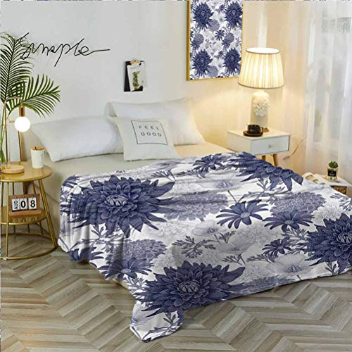 """70"""" W x 84"""" L Dahlia Flower Super Soft Blanket for Sofa Chair Bed Dotted Digital Paint of Dahlia Botanical Curved Rolled Wild Ray Blunts Design Blue White"""