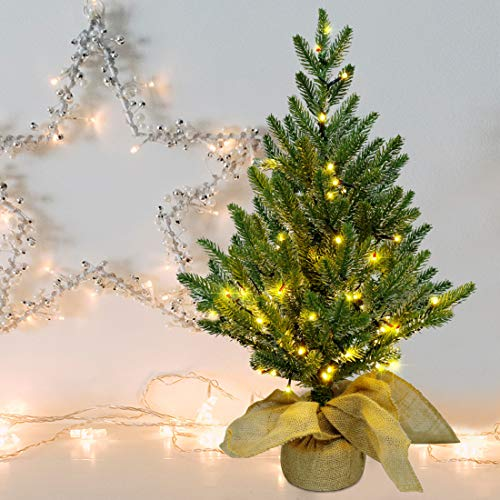 Lulu Home 2 FT Pre-lit Artificial Mini Christmas Tree, 24 Inch Tabletop Battery Operated Pine Tree with 50 LED Lights and Burlap Wrap Base for Christmas, Spring Decor