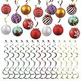 Jinlaili 30 Piezas Serpentinas Navidad Espiral, Remolino Colgante Streamers, Decoraciones Techo Forma Remolino, Lámina de Aluminio Espiral con Carton Globo para Navidad Fiesta Decoración