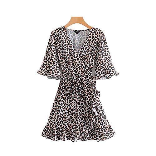 Deli Vestido Elegante con Volantes De Leopardo con Volantes Cruzado con Cuello En V Media Manga Patrón Animal Mini Vestidos Casuales