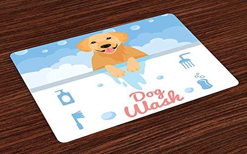 Golden Retriever Plaats Matten Set van 4, Hond Wassen in Badkuip Cartoon Schuim en Zeep Hygiëne, Wasbare Stof Placemats voor Eetkamer Keuken Tafeldecoratie, Lichtblauw Bleke Oranje Koraal