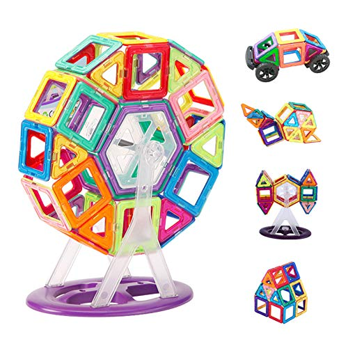 YWEN Magnetic Building Blocks, 68PCS Construction Toys Set Creativity Educational Magnets Toy Magnet Stacking Set for Boys Girls Present Age 3 4 5 6 7 Year Old