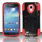 Mystcase (TM) for Samsung Galaxy S4 Mini Advanced Layer Hybrid Kickstand Rubber Phone Case Cover (Black Red)