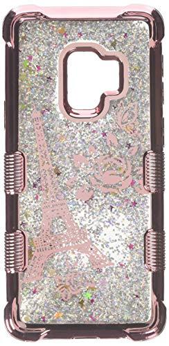MyBat Handy Fall für Samsung Galaxy S9–Rose Gold Eiffelturm/Silber Sparkles