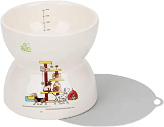 SUPERDESIGN スーパーデザイン 早食い防止セラミック犬フードボウルハイスタンドタイプ 陶器犬用給餌器 給水器 吐き戻し・嘔吐防止