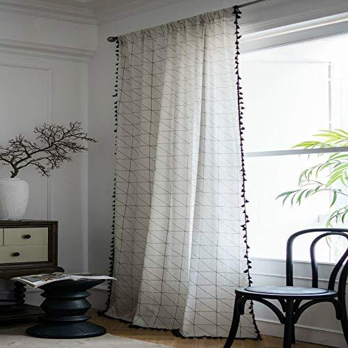 CXL Vorhang Baumwoll Leinen geometrischen Druck Schlafzimmer Vorhänge Halbschattierung schwimmende Vorhang-Haken Modelle