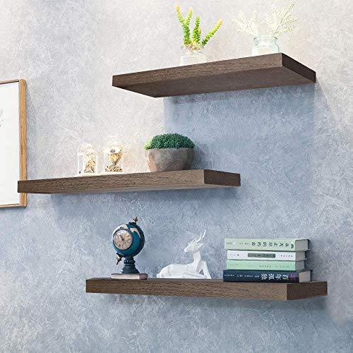 Kosiehouse Rustic Wood Floating Shelves, Wall Mounted Shelf Hanging Wall Decorative Shelves Display Ledge Storage Rack for Bathroom, Kitchen, Bedroom, Living Room - Set of 3 (Updated Mounting)