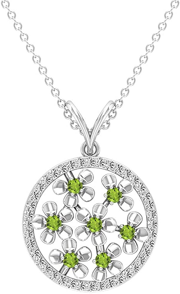 Custom 0.60 CT Peridot Cluster Certified Diamond Open Circle Halo Pendant, 14k Gold Engraved Floral August Birthstone Pendant, Chain Charm Pendants