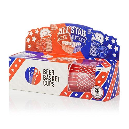 SUCK UK Basketball Pappbecher (20 tassen), Paper, Mehrfarben, 11.2 x 9 x 9 cm