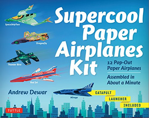 Supercool Paper Airplanes Kit: 12 Pop-out Paper Airplanes; Assembled in Under a Minute: 12 Pop-Out Paper Airplanes Assembled in About a Minute: Kit ... Book, Pre-Printed Planes & Catapult Launcher