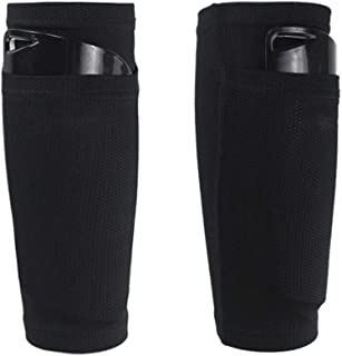 AiLike Nylon Pocket Shin Guard Sleeves Calf Compression Socks for Soccer Football Sports (Black, Teens)