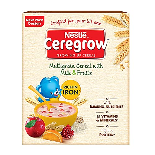 Nestle Ceregrow Growing Up Multigrain Cereal with Milk and Fruits (From 2-5 Years), 300g Bag-In-Box