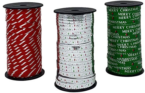Celebrate A Holiday Christmas Curling Ribbon 3 Pack, Green, Metallic Silver, Red & White Stripes, Christmas Holiday Party Crafts Supplies Decorations - 100 Yards Per Roll - 900 Feet Total Curly Ribbon