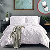 Vailge 3 Piece Pinch Pleated Duvet Cover with Zipper Closure, 100% 120gsm Microfiber Pintuck Duvet Cover, Luxurious & Hypoallergenic Pintuck Decorative (White,California King)