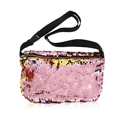 OULII Sports Bag Casual Bag Waist Pack Waist Bag Double Color Sequins Valentines Day gift for women girls (Gold + Pink)
