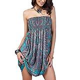 OCTOPUSIR - Vestido de playa para mujer, palabra de honor, estilo bohemio, con estampado floral