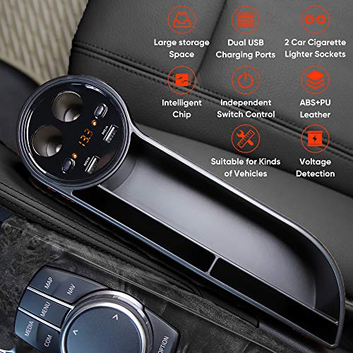 Mookis Car Seat Gap Filler, Multifunctional Car Seat Gap Organizer with Full Premium PU Leather with 2 Lighters, 2 Fast Charging USB Ports,Organize Your Odds and Ends for Easy Driving