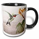 3dRose mug_44373_4'Hummingbird By Yellow Trumpet Flower on Crackled Background' Two Tone Black Mug, 11 oz, Multicolor