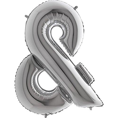 Ballon Buchstabe & in Silber - XXL Riesenbuchstabe 100cm - für Geburtstag Jubiläum & Co - Party Geschenk Dekoration Folienballon Luftballon Namen Wörter (Zeichen &)