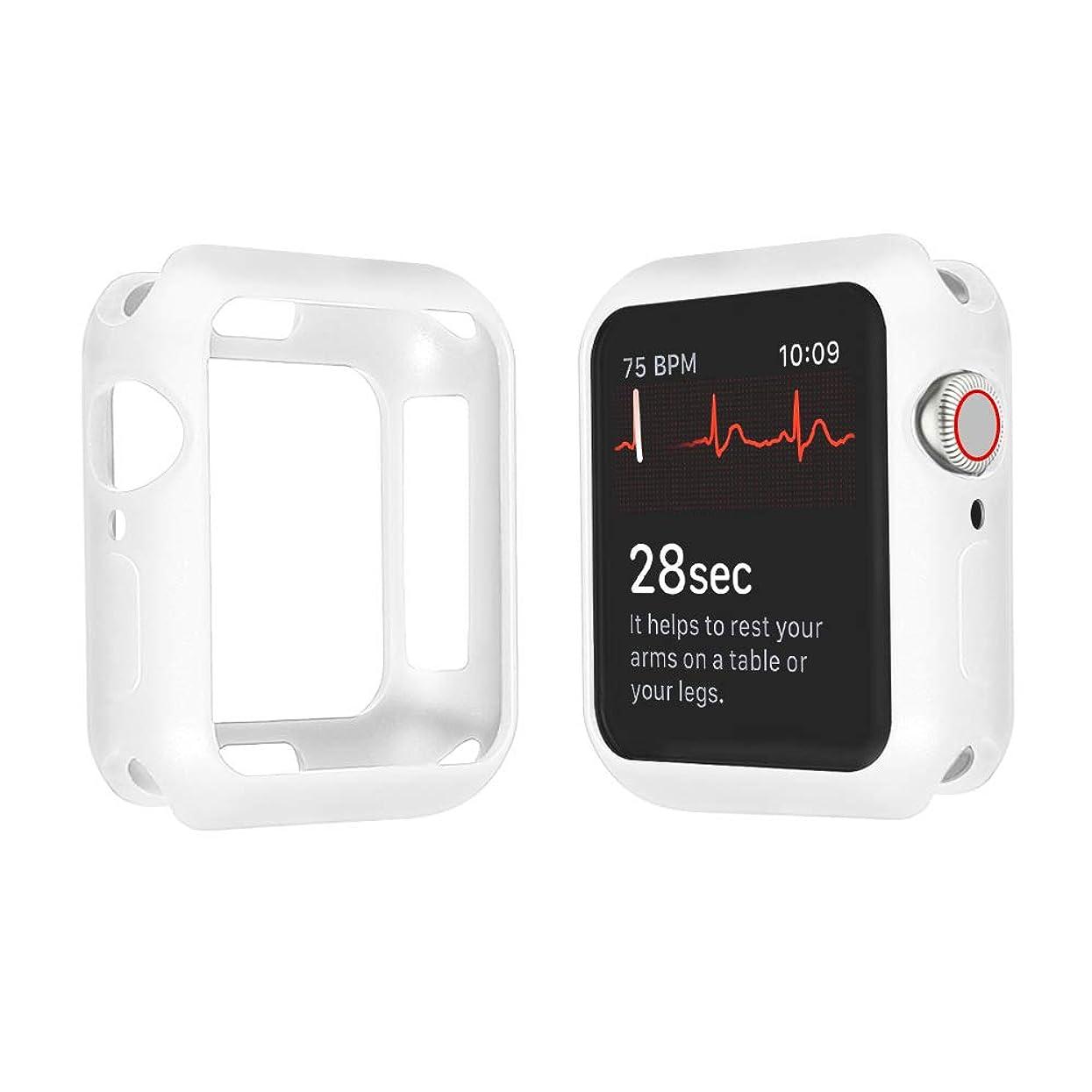 レンチシャーロットブロンテ病んでいるApple Watch Series 4 44mm/40mm ケース, 全面保護 耐衝撃 ソフトTPUウォッチケースシンプルファッション第4世代のApple Watchに最適(44mm 40mm)(44mm, 白)