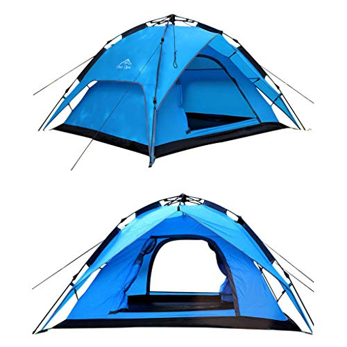 JINGQI Automatic Pole-Free Tent Camping Tent 3~4 People Double-Layer Double Door Rainproof Light Travel Tent,Blue