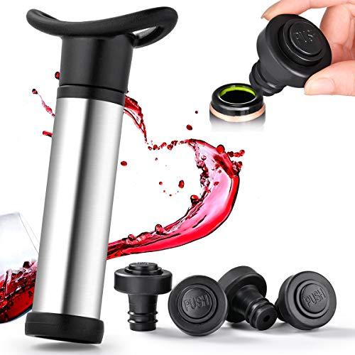 Pompa Salvavino Sottovuoto con 4 Tappi Bottiglia Riutilizzabili Tappi in Gomma Saver per Il Vino Rimasto Evitare di Ossidare L'acido Acetico, Mantenere Il Vino Fresco