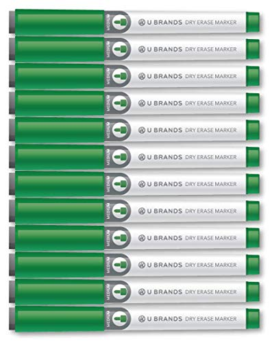 U Brands Low Odor Dry Erase Markers with Erasers, Medium Point, Green, 12-Count