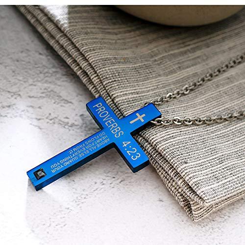 YQMR Colgante Collar para Mujer,Vintage Colgante Collar para Mujer Cruz Azul Oración Colgante Joyería Dama Retro Regalo para Parejas Cumpleaños Aniversario De Boda