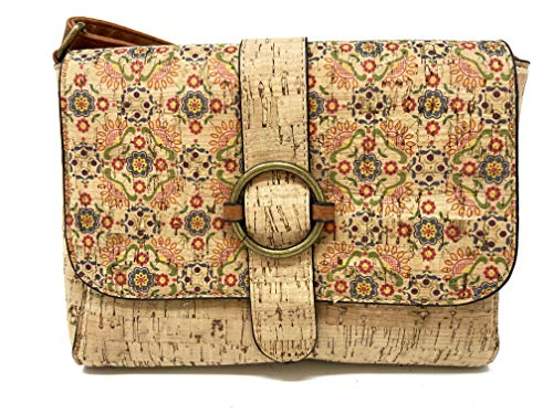 Women's Cork Shoulder Bag – Cross Body Bag with Adjustable Straps – Durable PU Leather – Original Gift – Floral Print – Gold Magnetic Closure – Round Gold Buckle – Casual Style