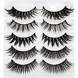 Mixed 3D Mink False Eyelashes Cross Long Thick Flutter Wispy Natural Fake Eye Lashes 100% Handmade Makeup Tools 5 Pairs(B9)
