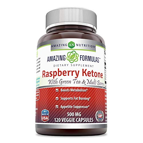 Amazing Formulas Raspberry Ketone - 500 Mg, 120 Vcaps - Boosts Metabolism, Supports Fat Burning and Appetite Suppressor