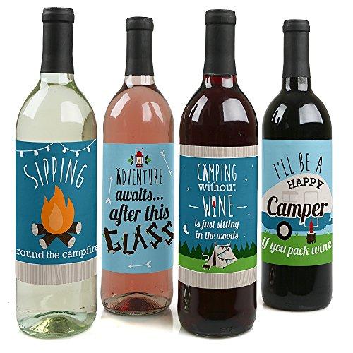 Happy Camper Wine Bottle Stickers