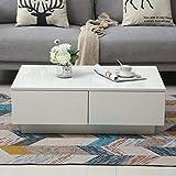 GOTOTO Table Basse de Salon avec 4 Tiroirs Table de Salon Moderne Blanche, Laquée Brillante, Table de Rangement Salon, 95 x 60 x 31cm