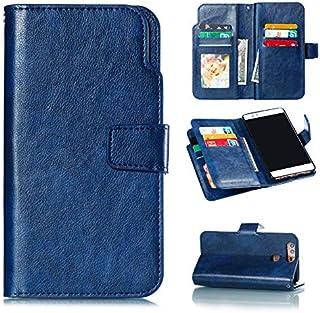 Huawei P9 財布 シェル,MeetJP スタイリッシュ スリム PU レザー シリーズ 立つ 且つ カード ホルダー 財布 電話 カバー 便利 保護 シェル の Huawei P9 -Blue