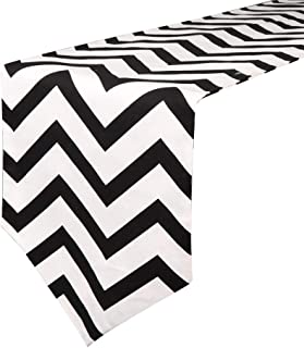 Uphome 1pc Classical Chevron Zig Zag Pattern Table Runner - Cotton Canvas Fabric Table Top Decoration, Black and White