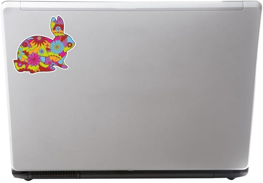 2/x Fleur Lapin Sticker en vinyle pour ordinateur portable Voyage Bagage Voiture Panneau iPad Fun # 5891-10cm//100mm Wide