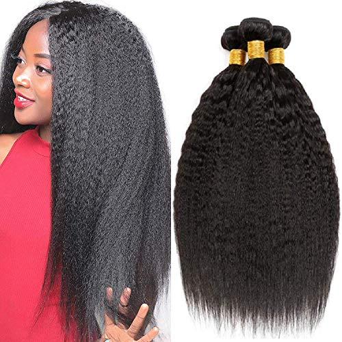 LVY Yaki Hair Brasiliana Kinky Straight Human Hair 3 Bundle Capelli Umani 100% Extension Capelli Veri Totale 300G (14 16 18 Inch)