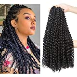 6 Packs Passion Twist Crochet Braids 18 Inch Long Passion Twist Crochet Hair Bohemian Water Wave Braids for Passion Twist Braiding Hair Synthetic Curly Hair Extensions (18' pack of 6, 1B)