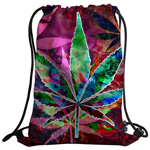 Violetpos Mode costumbre Unisex Turn Bolsa Mochila Bolsa de deporte Gym Bag Psyched elisches marihuana puede Hoja de Marihuana