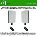 Tycon Wireless Outdoor Point to Point Bridge EZBR-0214+ with Two 2.4GHz 14dBi MIMO Antennas and Two PoE Power inserters