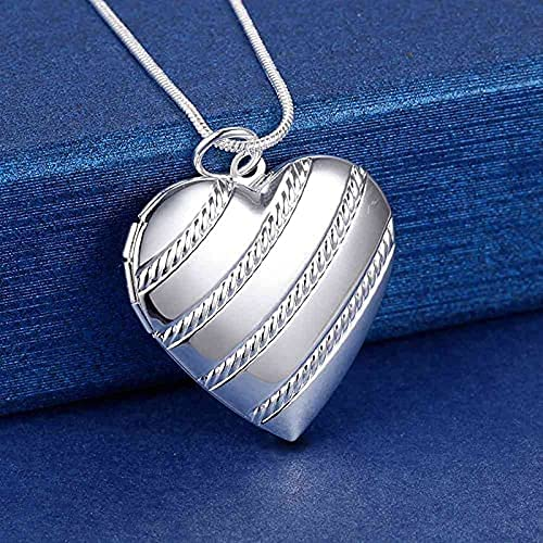 AMOZ Fashion925 Collar de Plata Esterlina 18 Pulgadas Corazón Colgante de M de Fotos para Mujer Joyería de Tendencia de Moda,45Cm