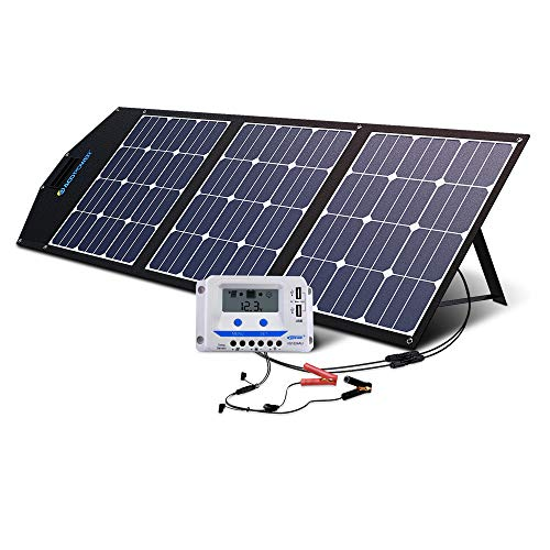 ACOPOWER 120W Portable Solar Panel 12V Foldable Solar Charger with 10A LCD Charge Controller in Suitcase