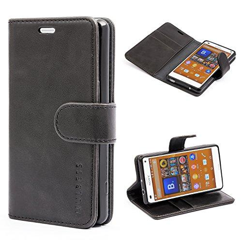 Mulbess Handyhülle für Sony Xperia Z3 Compact Hülle Leder, Sony Xperia Z3 Compact Handy Hüllen, Vintage Flip Handytasche Schutzhülle für Sony Xperia Z3 Compact Case, Schwarz