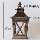 LDTR Stile Americano Colore Europeo di Stile Scuro Usato Metallo Vento Foglio di Legno della Lampada Ornamento Decorazione Esterna Decorazione (Color : L Copper Wire)