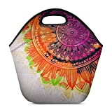 Acuarela abstracta Pintura de arte digital Mandala Bolsa de almuerzo geométrica antigua Caja de neopreno Bolsa de refrigerador lavable con aislamiento impermeable