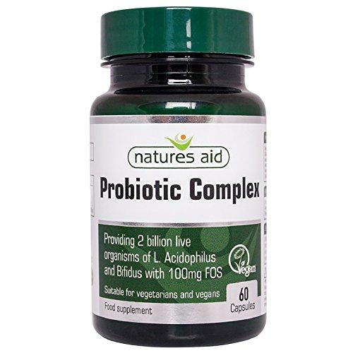 Natures Aid Probiotic Complex (L.Acidophilus and Bifidus, with FOS), Vegan, 60 Capsules